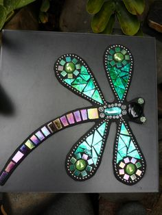 MADE TO ORDER Dragonfly Mosaic Mixed Media Art Tile with hanger. $69.00, via Etsy.