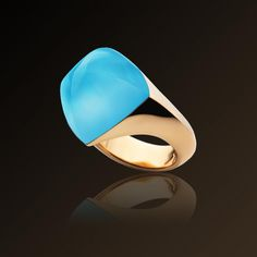 Pan di Zucchero - Vhernier, Ring in rose gold, turquoise and rock crystal. Made in Italy