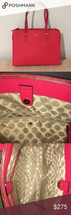 Geranium (bright pink) Kate spade bag Never used! Still has the tissue paper from initial purchase in the side zipper pockets. Has 3 small black marks/scuffs from moving it a few times between houses, the noticeable one is pictured, one is on the bottom and one is on the bottom left and those two aren't noticeable at all while using the bag. I had one just like this that I used for a year as a computer bag (put my laptop in a sleeve in the bag), then it was stolen so I bought this. Love this…