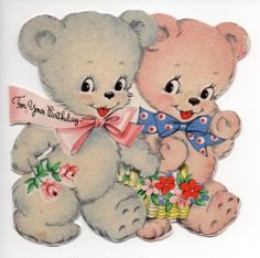 Vintage Greeting Card (04) - FOR YOUR BIRTHDAY – TEDDY BEARS