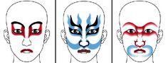 歌舞伎の顔 The color of Kabuki's face..... 赤い = 正義の味方 Red = Good person 青い = 敵役            Blue = Bad person 茶色 = 鬼や妖怪     Brown = Ghost....why in White Face? find out in the link....pls
