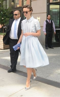 Keira Knightley in an adorable and classic dress by Prada