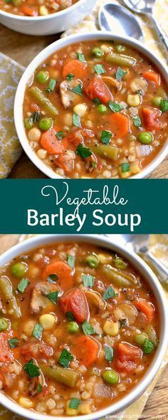 a thick, hearty vegetarian soup recipe that will warm you up on the coldest of days! This easy soup recipe is packed with rich, Italian flavors. Your whole family will love this vegetarian Vegetable Barley Soup recipe! Vegetable Barley Soup, Vegetable Soup Recipes, Healthy Soup Recipes, Whole Food Recipes, Vegetarian Recipes, Cooking Recipes, Meal Recipes, Family Recipes, Recipes Dinner