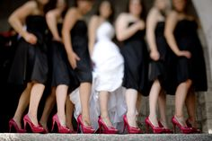 Black and red bridemaids