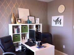 i love the shared office space! cute desk/bookshelf from IKEA!