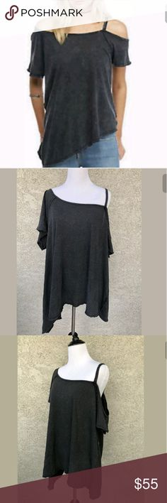 Free People Coraline Cold Shoulder Oversized Shirt ~NWT FREE PEOPLE CORALINE SHIRT ~GRAY ~HIGHLY SUGGEST TO A SIZE XL OR XXL!  TOO BIG FOR A SIZE L WHICH IS WHY I HAVE TO SELL~ (MY OPINION)  ~I WAS A SIZE XXL FOR 6 YEARS SO I SAY THE PREVIOUS STATEMENT WITH CONFIDENCE. SO, MY XL & XXL LADIES, YOU CAN PURCHASE WITH CONFIDENCE =) ~PLEASE NOTE, POSTING AS AN XL EVEN THOUGH THE TAG SAYS L Free People Tops Tees - Short Sleeve