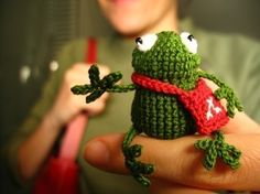 The cutest frog ever! (lawood.etsy.com) Amanda...thought you might like this. From your pins i figure you are crocheting.