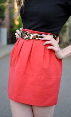 coral skirt & leopard belt