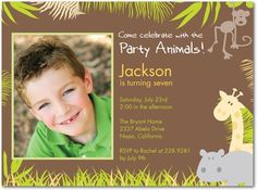 Birthday Party Invitations Party Jungle - Front : Nutmeg