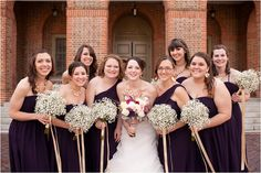 Ok - so here is a somewhat good example:  purple bridesmaid's dresses with a different brides bouquet.  Baby's breath bridesmaid bouquets