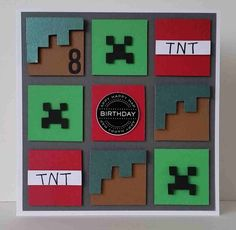 Boys/Mens Minecraft Squares Themed Card Handmade & hand crafted. I like to make my own embellishments where I can and a lot of my cards are cut by hand.