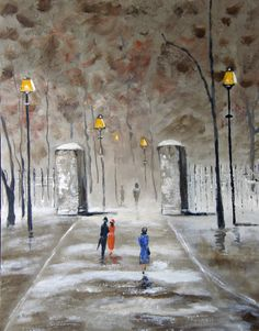 Stroll to the Park  Original Acrylic Painting by halinapl on Etsy, $198.00