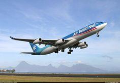 Air Tahiti Nui taking off from Tahiti Faa'a International Airport