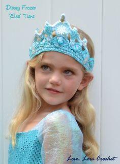 Disney Frozen Elsa Sparkly Crochet Tiara by LoveLoriCrochet