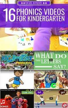 16 Phonics Videos for Kindergarten Yet another one from KindergartenWorks! These are sort of silly videos but the sillier the better, right? I keep hearing about the importance of phonics in early education and these videos really help with that! Phonics Videos, Phonics Song, Teaching Phonics, Phonics Activities, Jolly Phonics, Preschool Poems, Phonics Rules, Preschool Literacy, Time Activities