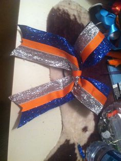 Orange and Blue cheer bow
