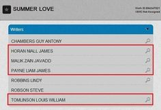 """writers credits for """"summer love"""" from take me home."""