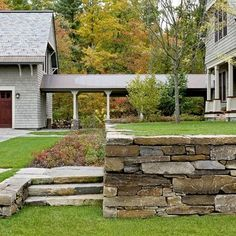 Stone Retaining Wall. Instead of the big boulders you see.