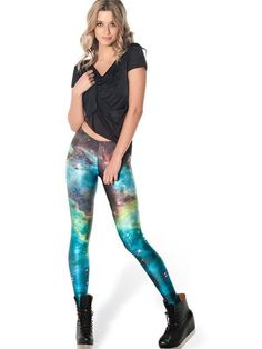 Attractive Blue Galaxy Pattern Tight 3D Painted Legging