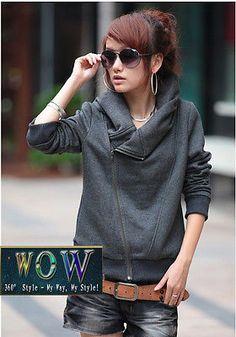 Japan-Korean-Fashion-Grey-All-Match-Hoodies-Coat-Jacket-with-Skew-Zipper-Design
