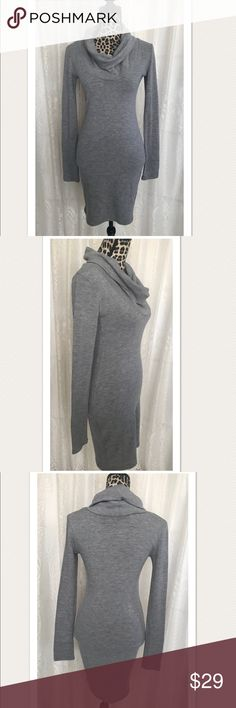 """Patty Boutik Gray Long Sleeve Sweater Wiggle Dress New! Patty Boutik gray turtleneck long sleeve sweater dress. Size 3. Poly/spandex blend lots of stretch.           34"""" Long... 32"""" Chest... 16"""" shoulders... 24""""sleeves Patty Boutik Dresses Long Sleeve"""