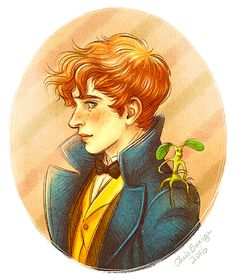 Newt Scamander and his fave Bowtruckle!  by Art by Chris Bexiga