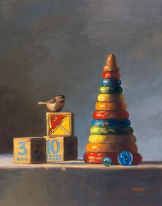 toy illustration Still Life with Birds: Michelle Waldele, fine art oil painter of representational, classical realism and vintage whimsy Still Life Drawing, Still Life Oil Painting, Oil Painting On Canvas, Still Life Artists, Classical Realism, Oil Painters, Painting Wallpaper, Old Toys, Art Oil