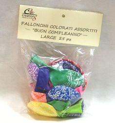 """25 Palloncini in lattice da decorare in colori assortiti con stampa """"Buon Compleanno"""". Cm.28, gongìfiabili sia ad aria che elio. Disponiibili da C&C Creations Store"""