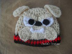 Georgia Bulldog Crochet Hat Bulldog HatBow by KendalsCreationsSt, $20.00