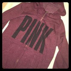 Victoria Secret Pink Burgundy Zip Hoodie Super comfy sweatshirt with hoodie. Has huge Pink logo in black on front with two pockets. Final Price x PINK Victoria's Secret Tops Sweatshirts & Hoodies
