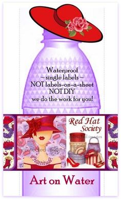 30 RED HAT SOCIETY custom WATERPROOF water bottle labels - NOT DIY Red Hat Club, Water Bottle Labels, Water Bottles, Boarders And Frames, Red Hat Ladies, Waterproof Labels, Red Hat Society, Hat Crafts, Holiday Centerpieces