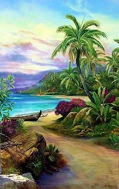 """Pathway to Paradise"" original painting by Paul Roberts. The artist really captures the essence of the shoreline in Hawaii in this piece. Beautiful Paintings, Beautiful Landscapes, Landscape Art, Landscape Paintings, Hawaiian Art, Caribbean Art, Tropical Art, Surf Art, Seascape Paintings"