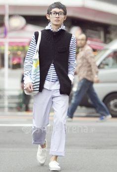knit vest and striped hoodie combo w/pinstripe pants-perfect look to transition into spring! -kariko
