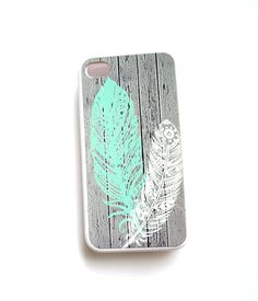 iPhone 5 iPhone 4 iphone 4S Galaxy S4 Case Feathers Mint Ships from USA on Etsy, $15.99