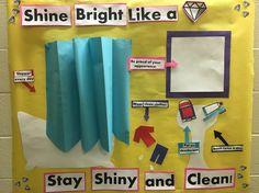 School Nurse Bulletin Board: Shine bright like a diamond/hygiene for middle school.