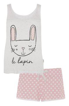 Pink Le Lapin Vest Short PJ Set