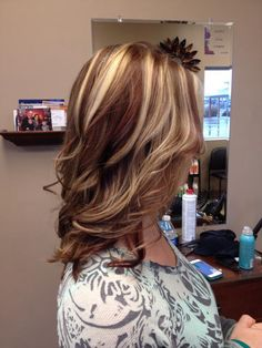Brown red and blonde highlights Salon b Carroll oh