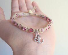 Ohm Hemp Bracelet with pink glass beads silver ohm by JackZenHemp, $10.25 #om #ohmbracelet #hemp