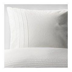 IKEA - ALVINE STRÅ, Funda nórd y 2 fundas almohada, 240x220/50x60 cm, , La ropa de cama de algodón cepillado tiene una textura lisa y un tacto suave.Ropa de cama muy suave y resistente, ya que es de un tejido denso de hilo fino.Los pliegues cosidos de la parte superior aportan textura y dinamismo a la funda nórdica.Los corchetes a presión ocultos mantienen el edredón en su sitio.
