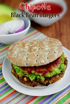 Homemade black bean burgers.  Tried this recipe - they're a little crumbly, but taste really good!