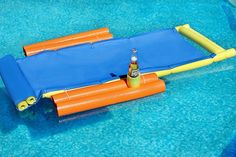 Make this easy DIY floating lounge chair at home using a yoga mat and pool noodles. This lounge chair is the perfect addition to a relaxing day on the water.