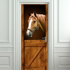 Door STICKER horse barn stable stall mural decole film self-adhesive poster cm) - Pulaton stickers and posters - 1 Saloon Western, Horse Themed Bedrooms, Horse Bedrooms, Westerns, Wooden Barn, Door Murals, Door Stickers, Horse Stalls, Door Wall
