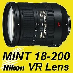 Nikon 18-200mm F/3.5-5.6 VR AF-S DX SWM ED IF Lens FREE USPS INSURED PRIORITY MAIL SHIPPING. Item delivered to your door within 2-4 business days. OPTICS AND BODY IN PERFECT SHAPE! Awesome lens, very gently used and well maintained. World's Favorite Wide-Angle and Portrait Lens Ever Made! Compatible with ALL Nikon's Digital Cameras: DX and FX (DX crop mode) Comes with back and rear lens caps. This is one of the most versatility and beautiful lenses ever built by Nikon. The most amazing…