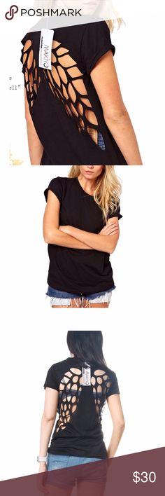 🎉HOST PICK 🎉Lazer cut angel wings black t-shirt Black lazer cut angel wings t-shirt scoop neck top. Size small runs small. Cotton polyester blend. 2x host pick! Tops Tees - Short Sleeve