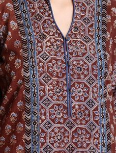 Maroon Ajrakh Printed Mandarin Collar Cotton Kurta Neckline Designs, Dress Neck Designs, Sleeve Designs, Blouse Designs, Salwar Designs, Kurta Designs Women, Kurti Designs Party Wear, Simple Kurta Designs, Modesty Fashion