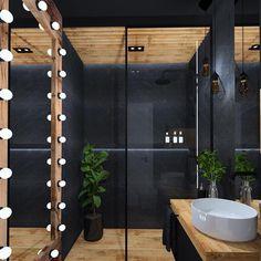 """Wszystko dla domu na Instagramie: """"Projekt małej łazienki, 5 mkw, w czerni i drewnie 🖤 Styl industrialny w 100%! Nam spodobał się grzejnik oraz lustro niczym z backstage…"""" Home Room Design, Dream Home Design, Home Interior Design, Interior Decorating, Bathroom Design Luxury, Modern Bathroom Design, Modern House Design, Bathroom Design Inspiration, Home Decor Inspiration"""