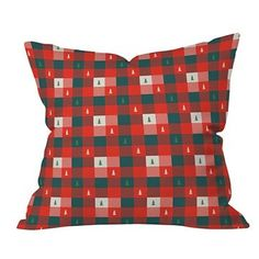 Red Plaid Zoe Wodarz Mini Tree Plaid Throw Pillow (16
