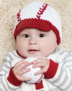 Learn to crochet-Free Crochet Baseball Baby Hat Pattern. Crochet Gratis, Free Crochet, Knit Crochet, Easy Crochet, Booties Crochet, Baby Hat Patterns, Crochet Patterns, Bonnet Crochet, Crochet Kids Hats