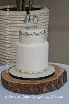 'AIMEE' ~ Beautiful 2 tier cake with double barreled base tier decorated in edible lace serves 60 dessert portions / 120 coffee portions Luxury Wedding Cake, Unique Wedding Cakes, Our Wedding, 2 Tier Cake, Tiered Cakes, Edible Lace, Double Barrel, Small Intimate Wedding, Dream Cake