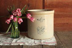 Vintage Stoneware Crock, 4 Gallon Crock, Antique Crock, Crocker Planter, House Plant Pot, Farmhouse Umbrella Stand, Rustic Umbrella Holder by OurVintageBungalow on Etsy